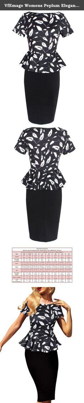 VfEmage Womens Peplum Elegant Vintage Tartan Plaid Wear To Work Pencil Dress 2433 BLK 14. a.