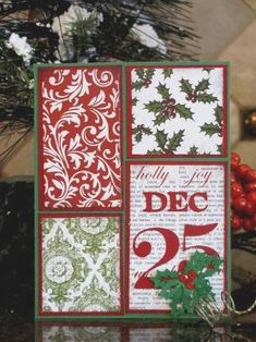 "Another great way to use up your scraps of Christmas paper. Layer 4 simple blocks of paper on the same color cardstock and follow this pattern on top of a green card base. And ""DEC 25"" and some holly leaves with red rhinestones for this fun handmade Christmas card. by thelma"