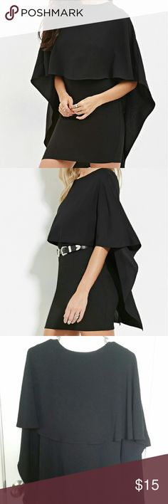 Forever 21 Black Cape-Sleeve Mini Dress NWOT Black Cape-Sleeve Mini dress (Medium ). Forever 21 Dresses