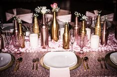 Kristin & Eric - Romantically Rustic | Black Dog Photo Co | As seen on Todaysbride.com | blush and gold wedding decor, blush and gold wedding ideas, glitter wedding ideas, pink wedding, table decor, wedding centerpieces