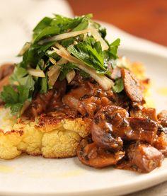 Cauliflower Steak with Mushroom Ragout