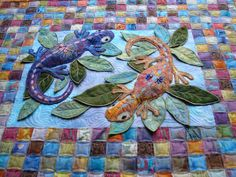 lizards trapunto on patchwork