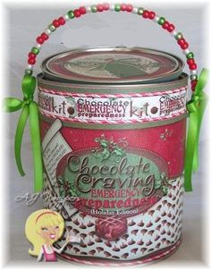 Chocolate Emergency (Holiday Edition) Can. AJ Wrappers Keepsake Cans can be used like gift baskets, just fill with your items.