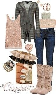 Cute & comfy outfit. Perfect for Fall or Spring. fashion, style, cloth, color, accessori, outfit, closet, fan, boots