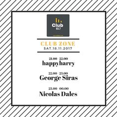 Tonight Nicolas Dales guest mix at Club FM 93.7 (Ierapetra Crete)  Tonight 3 Hours Non Stop // Club Zone 21.00 - 22.00 - Happyharry 22.00 - 23.00 - George Siras [Official Page] 23.00 - 00.00 - Nicolas Dales  Listen at 937FM (for Crete only) or worlwide at: http://ift.tt/2hJO08O  #nicolasdales #techhouse #crete
