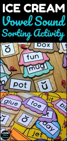 This printable ice cream vowel sounds sorting activity is perfect for teaching short and long vowel sounds to early readers! Word Work Activities, Sorting Activities, Summer Activities For Kids, Alphabet Activities, Help Teaching, Teaching Kindergarten, Teaching Ideas, Activity Centers, Literacy Centers
