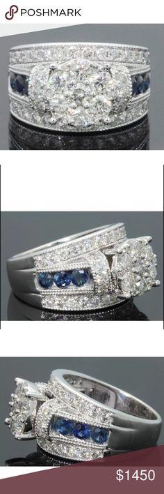 WOW! 3.25 carat diamond & sapphire 10k gold ring AMAZING 3.25 carat diamond&sapphire 10k gold ring! Retail over $7000!!!!! Jewelry Rings
