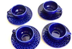 East German ceramic blue cups with saucers, set of 4 on Etsy, $53.05