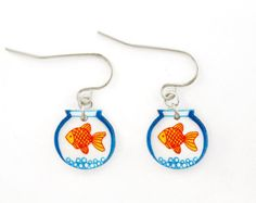 Gold Fish Bowl Shrink Plastic Dangle Earrings