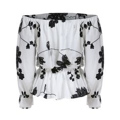 Dot fashion Off the Shoulder Floral Vintage Tops Summer Style Casual Woman New Arrivals Ladies White Black Long Sleeve Blouse