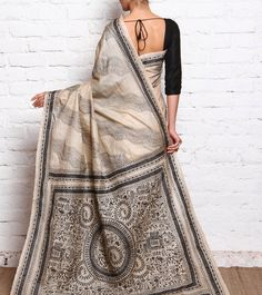 Beige Tussar Silk Kantha Saree