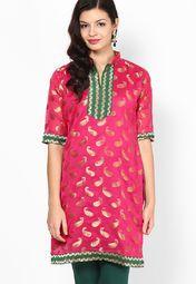 Pink Printed Cotton Kurta