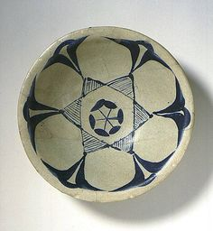 xxx ~ 'Bowl Iran Bowl, 9th-10th century Ceramic; Vessel, Earthenware, tin-glazed and stain painted'