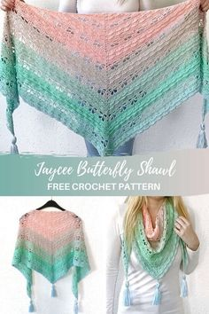 Make this beautiful butterfly crochet shawl with my free pattern on and video tutorial on . This triangle shawl is worked top-down and made with a gradient yarn cake. Crochet Shawls And Wraps, Crochet Poncho, Crochet Scarves, Crochet Clothes, Crochet Lace, Filet Crochet, Crochet Triangle, Double Crochet, Single Crochet