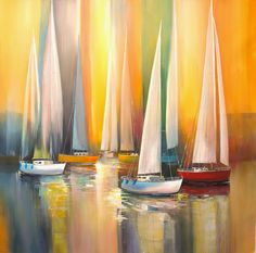 SUMIANYH Oil Paintings On Canvas Hand Painted,Hand Painted Oil Painting Red Yellow White Sailboat Modern Painting On Canvas Abstract Artwork for Living Room Wall Sailboat Art, Sailboat Painting, Art Oil, Landscape Art, Art Pictures, Watercolor Paintings, Painting Art, Canvas Art, Canvas Ideas