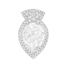 Art Deco Platinum, Rock Crystal and Diamond Clip-Brooch, Cartier   Centering one pear-shaped rock crystal approximately 17.0 x 12.6 mm., within a pave-set diamond-set frame of conforming shape, topped by a stylized geometric diamond-set crown, signed Cartier, no. 65-8338 5, circa 1930, clasp fitting added later, approximately 5.3 dwt.