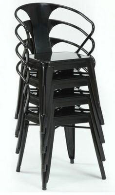 Stackable Modern Industrial Metal Dining Chairs Set of Four 4 Seating in Outdoor | eBay