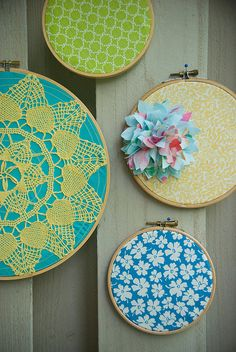 embroidery hoops + scrap fabrics