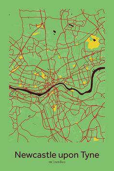 Newcastle upon Tyne, England Map Print