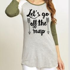 """Let's Go Off The Map Closet fav! """"Let's Go Off The Map"""" top. Lightweight and comfy. I love the material. Available in sizes S, M and L. This item is available. I will make a separate listing for you  Color Bear Tops Tees - Short Sleeve"""