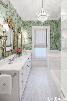 "Bathroom, ""Gilt and Glamour"", beautiful wallpaper, gilt frame mirror, against white bathroom"