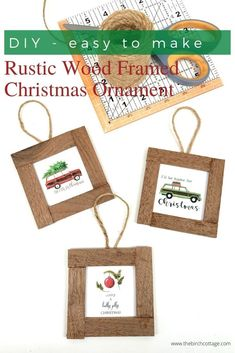 three wood framed Christmas ornaments