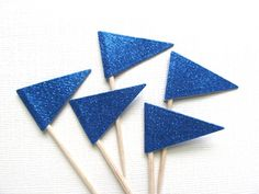 Blue Glitter Flag Cupcake Toppers, Party Decor, Double-Sided, Color Options, Weddings, Showers, Birthdays, Nautical,  Set of 15 - pinned by pin4etsy.com