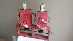 "Altered Antique Double Book Automata Assemblage Sculpture ""Smolder"""