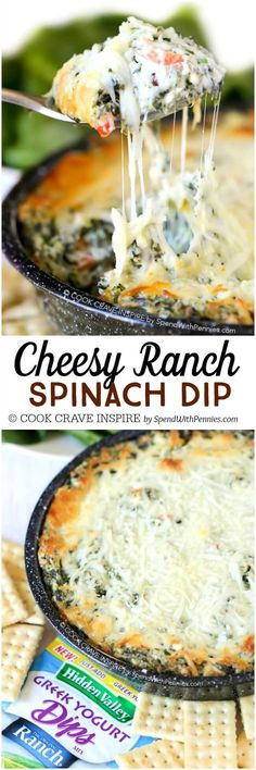 This Cheesy Ranch Spinach Dip recipe is a definite favorite! Rich, creamy and totally cheesy this is loaded up with fresh spinach and tons of flavor. and best of all, it can be made up to a day in advance! Appetizer Dips, Appetizer Recipes, Party Appetizers, Party Snacks, Dinner Recipes, Party Dips, Yummy Recipes, Recipies, Ranch Spinach Dip Recipe