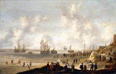 Willem van Diest - Nederlandse soldaten op het strand van Scheveningen