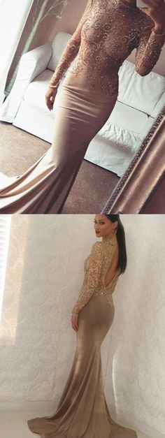 da46323fdc Champagne Mermaid Long Sleeves Lace Open Back Bateau Beading Prom Dress