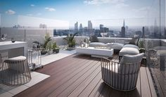 Bilder auf Anfrage Penthouse-Terrasse - Terrassengestaltung Pictures on request Penthouse terrace - Penthouse Garden, Luxury Penthouse, Luxury Apartments, Luxury Homes, Penthouse Apartment, Rooftop Terrace Design, Terrace Building, Rooftop Patio, Apartment Projects