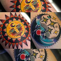 traditional sun and moon tattoos - Google Search