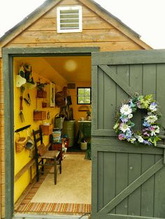 Inside a Potting Shed | painted the shed's inside walls a warm yellow.