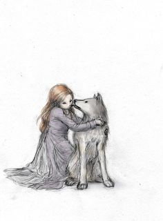 Sansa and Lady by EjBeachy