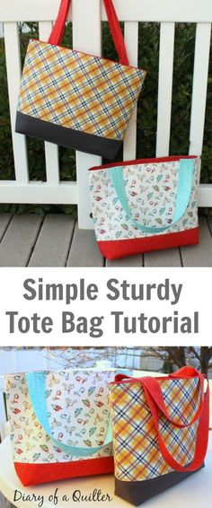 Simple sturdy tote bag – FREE pattern & tutorial – Sew Modern Bags Here's yet another FREE pattern and tutorial that Sew Modern Bags has found for you. This one is an absolute beautiful tote bag called the Simple Sturdy Tote Bag. Bag Patterns To Sew, Tote Pattern, Free Tote Bag Patterns, Sewing Patterns, Wallet Pattern, Bag Sewing, Free Sewing, Costura Diy, Tote Tutorial