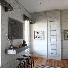 shiplap walls   Fabulous kid's bedroom with galvanized steel window valances over sash ...