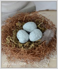DIY tutorial on creating a faux bird nest with chalk painted walnuts as blue eggs. Spring and Easter home decor & craft by dandelion patina
