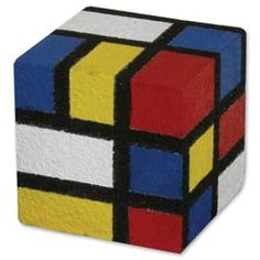 United Art and Education Art Project:  This colorful cube project idea was inspired by the Dutch painter, Piet Mondrian.