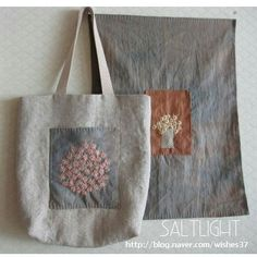Linen heart tote bag with appliqué, Sashiko Hand embroidered tote, Valentine tote bag, mother's day -