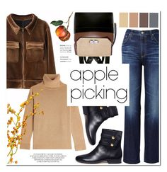 """Harvest Time: Apple Picking"" by helenevlacho ❤ liked on Polyvore featuring AG Adriano Goldschmied, Michael Kors, The Kooples, Carven, contestentry and applepicking"