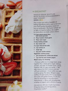 Whole-Grain Waffles w/Sliced Strawberries and Yogurt (pic only)