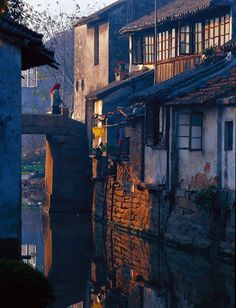 Waterside residences in a traditional Chinese town
