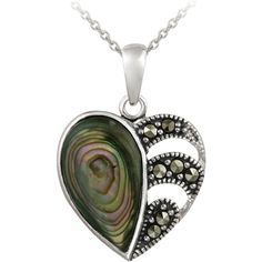 Glitzy Rocks Sterling Silver Abalone and Marcasite Heart Necklace ($20) ❤ liked on Polyvore featuring jewelry, necklaces, sterling silver heart necklace, glitzy rocks, marcasite jewelry, sterling silver necklaces and sterling silver heart jewelry
