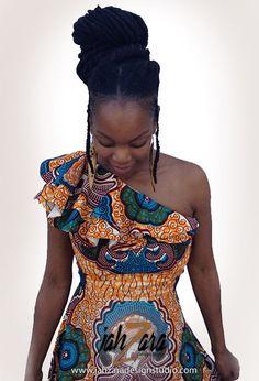 One Shoulder Maxi Dress with Ruffles by JahzaraDesignStudio