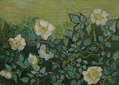 White Roses : leaves silhouetted in Azul Bleu   Vincent Van Gogh
