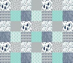 Rbear_forest_quilt_mint_navy_grey_shop_preview