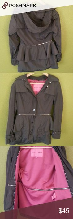 Betsey Johnson Coat Great condition. Unzips at the waist and unbuttons at the hood. Heart shaped buttons an zipper pull. Feel free to ask questions! Betsey Johnson Jackets & Coats Trench Coats