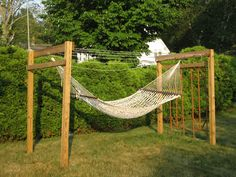 clothesline hammock! I would create a large walking path and flower garden in this as well.