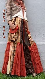 "AuraGaia ~ Autumn Dancer ~ Skort Pants OverDyed Upcycled UBER Wide Legs fit XS-4X Plus; upcycled overdyed cottons, rayons, calico cottons, rayon/linen blend in hues of pumpkin, brown, tan, yellows. these are 220"" around on the hem of each leg! that's 18'4"" around...UBER swishy!!!!!!!!!! 3 pockets; drawstring waisted"